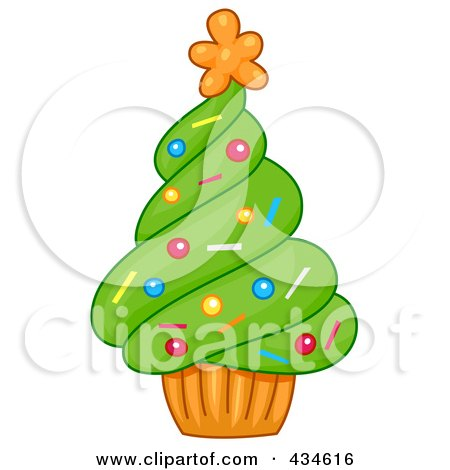 Royalty-Free (RF) Clipart Illustration of a Cupcake Christmas Tree by BNP Design Studio