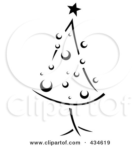 Royalty-Free (RF) Clipart Illustration of a Retro Black And White Christmas Tree by BNP Design Studio