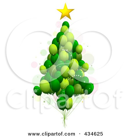 Royalty-Free (RF) Clipart Illustration of a Green Balloon Christmas Tree by BNP Design Studio