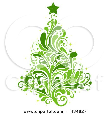 Royalty-Free (RF) Clipart Illustration of a Leafy Green Christmas Tree  by BNP Design Studio