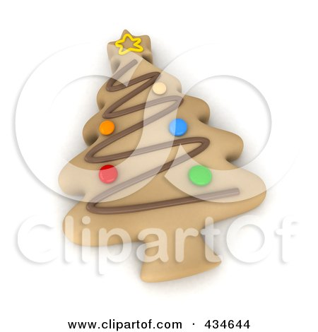 Royalty-Free (RF) Clipart Illustration of a 3d Christmas Tree Cookie by BNP Design Studio
