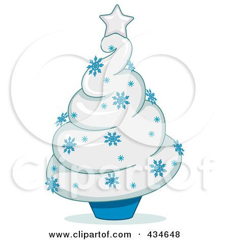 Royalty-Free (RF) Clipart Illustration of a Blue And White Christmas Tree Cupcake by BNP Design Studio