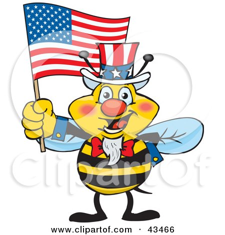 Clipart Illustration of a Patriotic Uncle Sam Bee Waving An American Flag On Independence Day by Dennis Holmes Designs