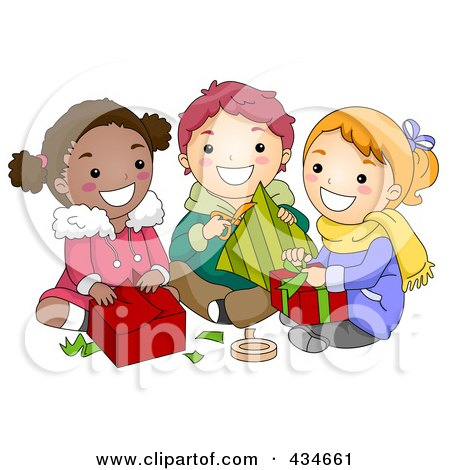 Royalty-Free (RF) Clipart Illustration of Diverse Christmas Kids Opening Gifts by BNP Design Studio