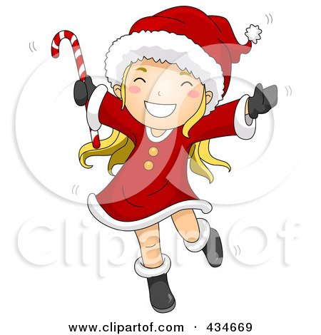 Royalty-Free (RF) Clipart Illustration of a Happy Christmas Girl Dancing And Holding A Candy Cane by BNP Design Studio