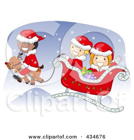Royalty-Free (RF) Clipart Illustration of Diverse Christmas Kids Flying In Santas Sleigh by BNP Design Studio