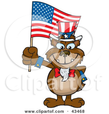 Clipart Illustration of a Patriotic Uncle Sam Bear Waving An American Flag On Independence Day by Dennis Holmes Designs