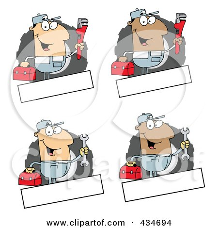 Royalty-Free (RF) Clipart Illustration of a Digital Collage Of Mechanic Logos by Hit Toon