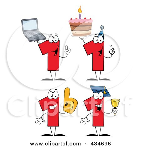 Royalty-Free (RF) Clipart Illustration of a Digital Collage Of Number One Characters by Hit Toon