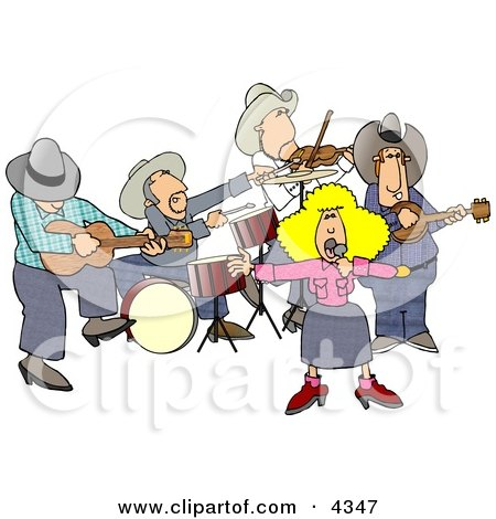 Country Western Band Playing Country Music Clipart by djart