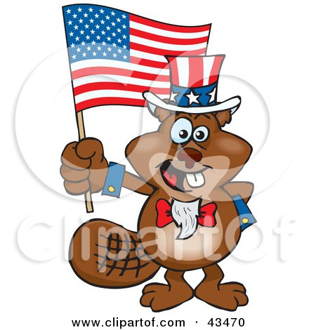 Clipart Illustration of a Patriotic Uncle Sam Beaver Waving An American Flag On Independence Day by Dennis Holmes Designs