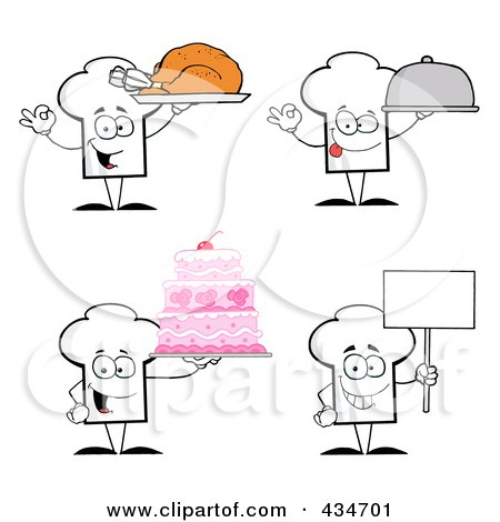 Royalty-Free (RF) Clipart Illustration of a Digital Collage Of Chef Hat Characters by Hit Toon