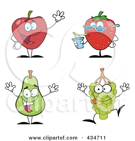 Royalty-Free (RF) Clipart Illustration of a Digital Collage Of Fruit Characters by Hit Toon