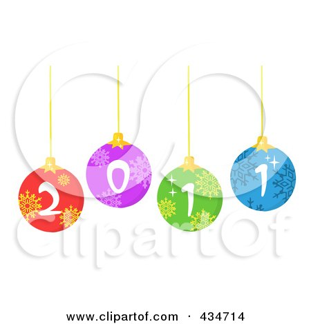 Royalty-Free (RF) Clipart Illustration of Colorful 2011 New Year Baubles by Hit Toon