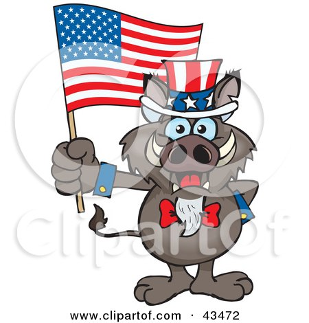 Clipart Illustration of a Patriotic Uncle Sam Boar Waving An American Flag On Independence Day by Dennis Holmes Designs