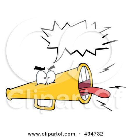 Royalty-Free (RF) Clipart Illustration of an Angry Megaphone - 2 by Hit Toon