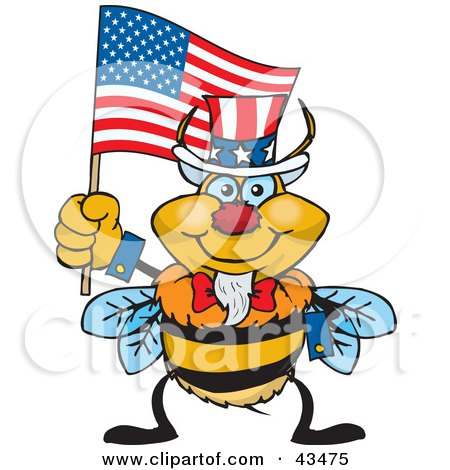 Clipart Illustration of a Patriotic Uncle Sam Bumble Bee Waving An American Flag On Independence Day by Dennis Holmes Designs