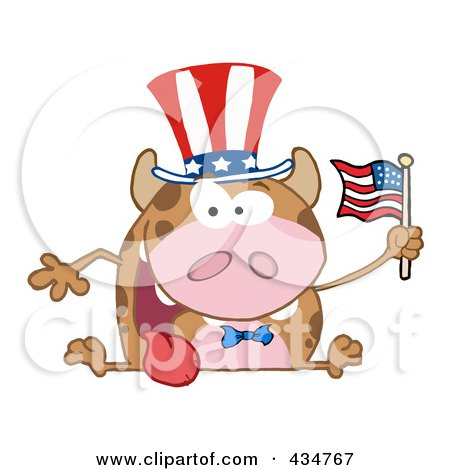 Royalty-Free (RF) Clipart Illustration of a Patriotic Cow Holding An American Flag - 1 by Hit Toon