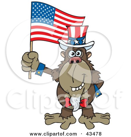 Clipart Illustration of a Patriotic Uncle Sam Ape Waving An American Flag On Independence Day by Dennis Holmes Designs