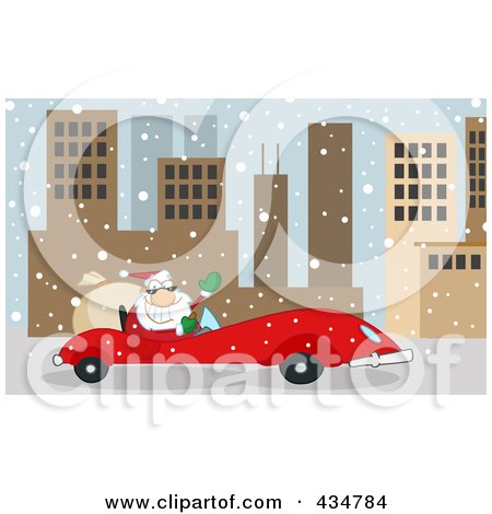 Royalty-Free (RF) Clipart Illustration of Santa Driving A Red Car In A Snowy City by Hit Toon