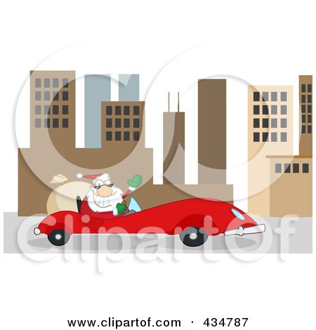 Royalty-Free (RF) Clipart Illustration of Santa Driving A Red Car In A City by Hit Toon