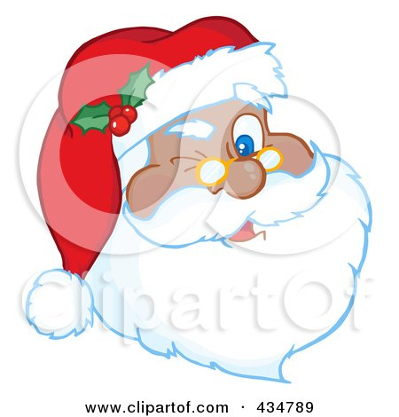 Royalty-Free (RF) Clipart Illustration of A Black Santa Winking by Hit Toon