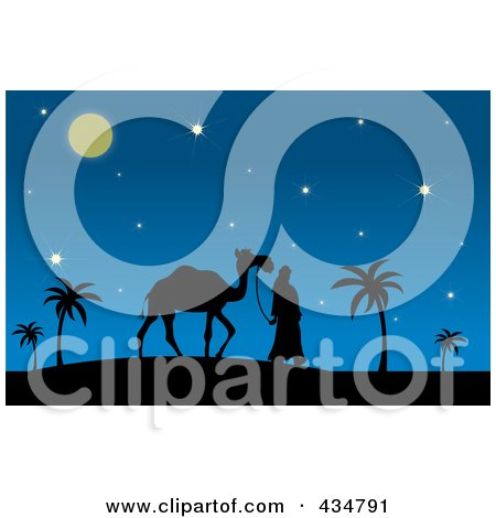 Royalty-Free (RF) Clipart Illustration of a Silhouetted Man Walking A Camel On A Desert Night by Pams Clipart