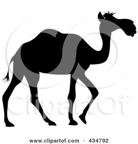 Royalty-Free (RF) Clipart Illustration of a Black Silhouetted Walking Camel by Pams Clipart