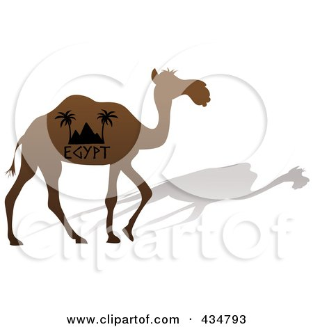 Royalty-Free (RF) Clipart Illustration of a Brown Silhouetted Egypt Camel And Shadow by Pams Clipart