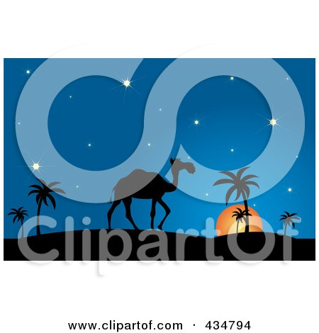Royalty-Free (RF) Clipart Illustration of a Silhouetted Camel And Walking Against A Desert Sunset by Pams Clipart
