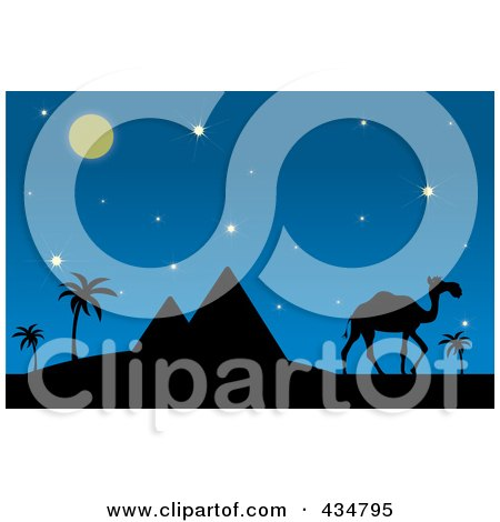 Royalty-Free (RF) Clipart Illustration of a Silhouetted Camel And Walking Near Pyramids On A Desert Night by Pams Clipart