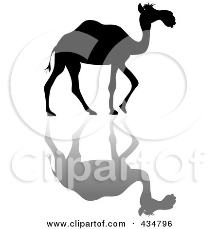 Royalty-Free (RF) Clipart Illustration of a Black Silhouetted Walking Camel And Shadow by Pams Clipart