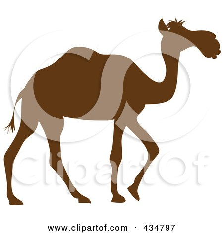 Royalty-Free (RF) Clipart Illustration of a Brown Silhouetted Walking Camel by Pams Clipart