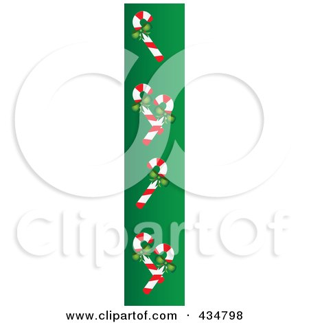Royalty-Free (RF) Clipart Illustration of a Christmas Border Of Candy Canes With Bows On Green by Pams Clipart