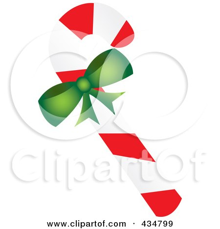 Royalty-Free (RF) Clipart Illustration of a Peppermint Candy Cane With A Green Bow by Pams Clipart