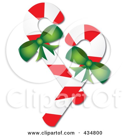 Royalty-Free (RF) Clipart Illustration of Two Peppermint Candy Canes With Green Bows by Pams Clipart