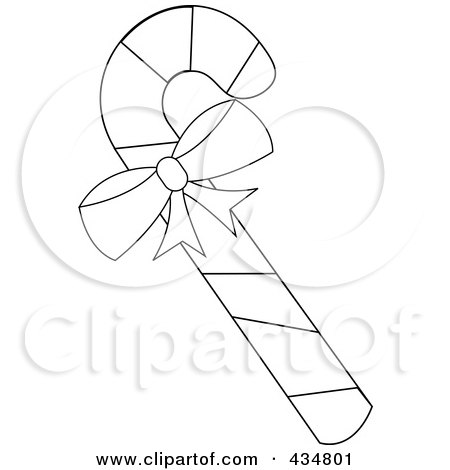 Royalty-Free (RF) Clipart Illustration of an Outlined Peppermint Candy Cane With A Bow by Pams Clipart