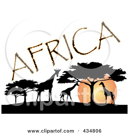 Royalty-Free (RF) Clipart Illustration of Africa Text Silhouetted Giraffes And Trees Against An African Sunset by Pams Clipart