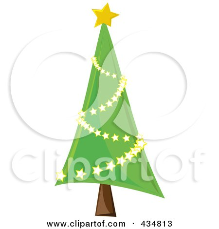 Shiny Green Christmas Tree With A Star Garland Posters, Art Prints