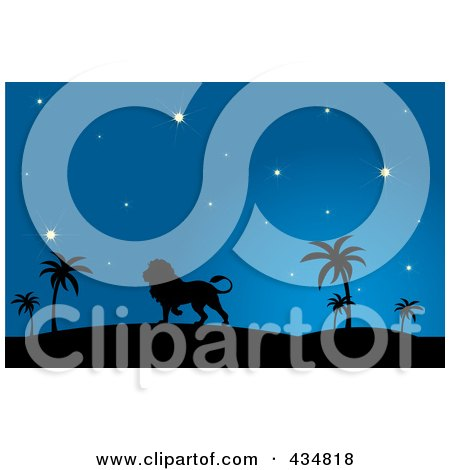 Royalty-Free (RF) Clipart Illustration of a Silhouetted Lion Walking In A Desert At Night by Pams Clipart