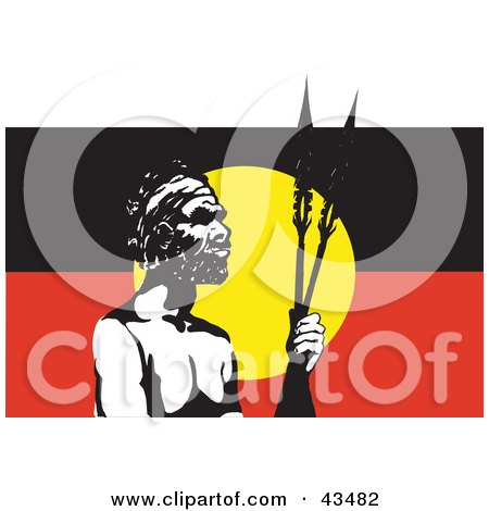 Clipart Illustration of a Tribal Man Standing In Front Of An Australian Aboriginal Flag by Dennis Holmes Designs