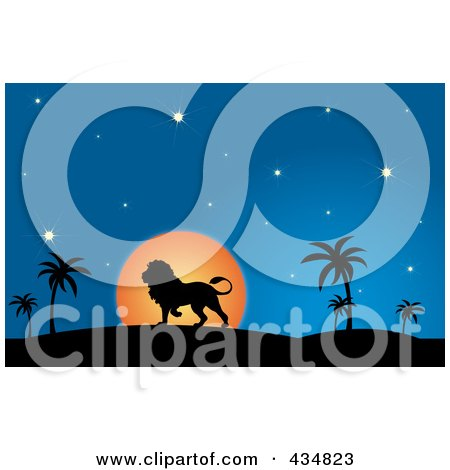 Royalty-Free (RF) Clipart Illustration of a Silhouetted Lion Walking In A Desert At Dusk by Pams Clipart