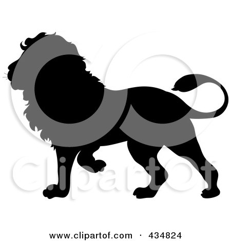 Royalty-Free (RF) Clipart Illustration of a Black Lion Silhouette by Pams Clipart