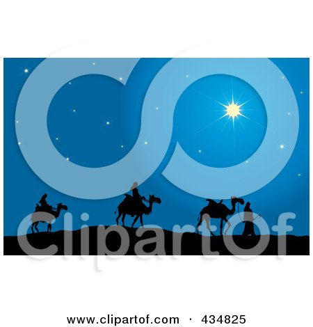 Royalty-Free (RF) Clipart Illustration of The Three Wise Men Silhouetted And Walking Their Camels Following The North Star To Bethlehem by Pams Clipart