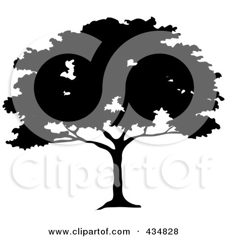 Royalty-Free (RF) Clipart Illustration of a Black Silhouetted African Umbrella Thorn Tree by Pams Clipart