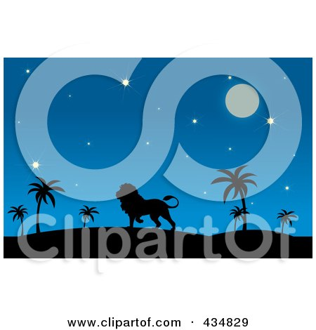 Royalty-Free (RF) Clipart Illustration of a Silhouetted Lion In A Desert At Night by Pams Clipart