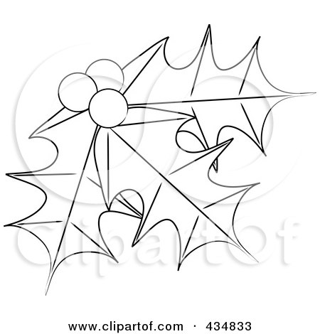 Royalty free rf clipart illustration of outlined holly for Holly leaves coloring pages
