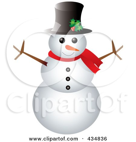 Royalty-Free (RF) Clipart Illustration of a Happy Snowman With A Top Hat And Scarf by Pams Clipart