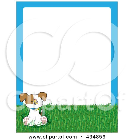 Royalty-Free (RF) Clipart Illustration of a Cute Puppy With A Butterfly On Grass, With A Blue Frame Around White Space by Maria Bell