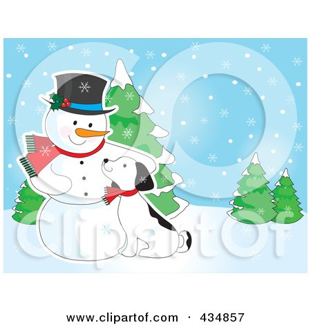 Royalty-Free (RF) Clipart Illustration of a Puppy Cuddling Against A Snowman In A Winter Landscape by Maria Bell